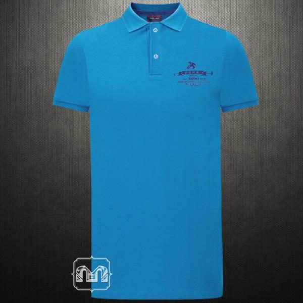 Us Polo Assn Blue Polo Tshirt With Left Chest Horse Logo Print