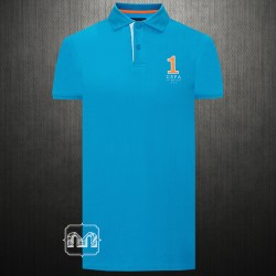 US Polo Assn Men Solid Blue Polo Tshirt With Left Chest USPA Number One Embroidery