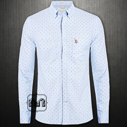 ~US Polo Assn Sky Blue Button Down Printed Shirt With US Polo Chest Embroidery On Pocket