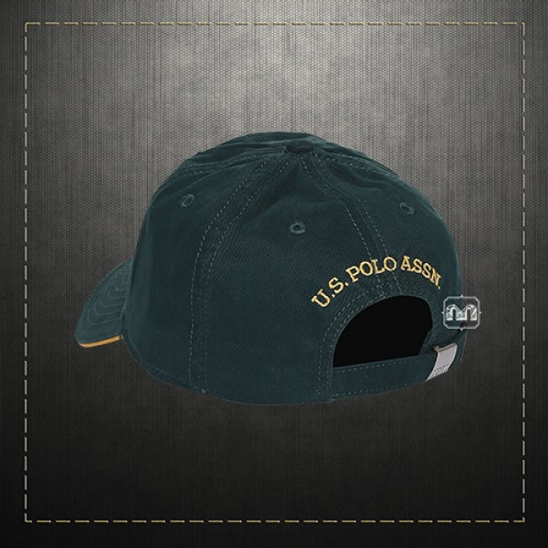 9fa526c6e8e US Polo Assn USPA Men Solid Green Embroidered Logo Panelled Baseball Hat Cap  With Adjustable Strap