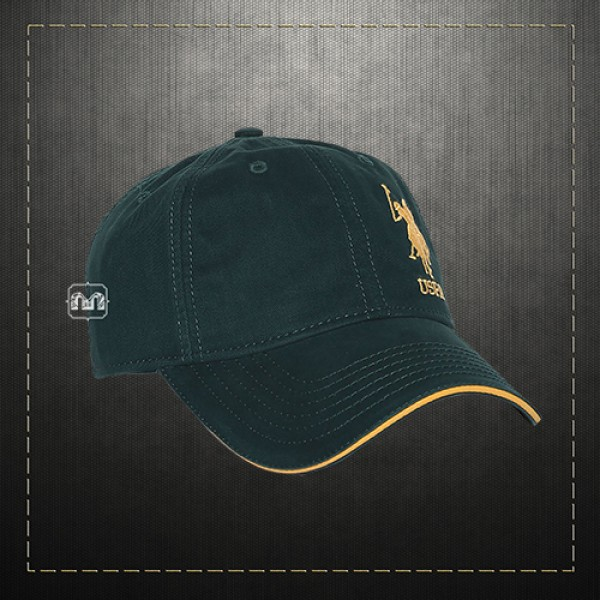 ab39b96e5c1 US Polo Assn USPA Men Solid Green Embroidered Logo Panelled Baseball Hat Cap  With Adjustable Strap
