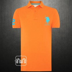 ~US Polo Assn Fluorescent Orange Pique Knit Polo Tshirt Light Blue Big Pony Chest Embroidery Logo
