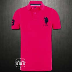 US Polo Assn Men Fluroscent Fuschia Pink Pique Knit Polo Tshirt Navy Big Pony Logo
