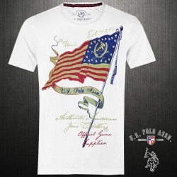 ~US Polo Assn White Crew Neck Graphic Printed Tshirt US Flag On Front
