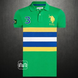 ~US Polo Assn Green Striped Big Pony Polo T shirt Brazil Limited Edition