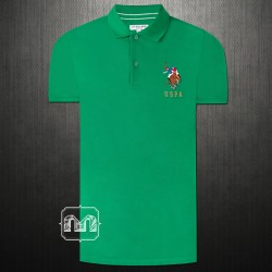 US Polo Assn Men Solid Green Polo T shirt Multicolored Big Pony Embroidery