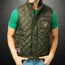 US Polo Assn Men Olive Green Quilted Sleeveless Vest Jacket With Chest Embroidery & Pocket