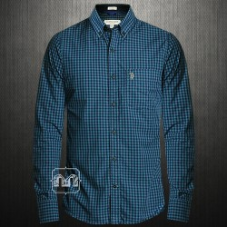 ~US Polo Assn Grey Blue Mini Checks Gingham Long Sleeves Button Down Shirt With Silver Chest Pony On Pocket
