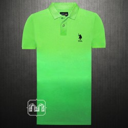 ~US Polo Assn Green Faded Polo Tshirt With Small Pony Chest Embroidery