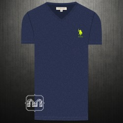 ~US Polo Assn Melange Blue Vneck Tshirt With Small Pony Chest Embroidery