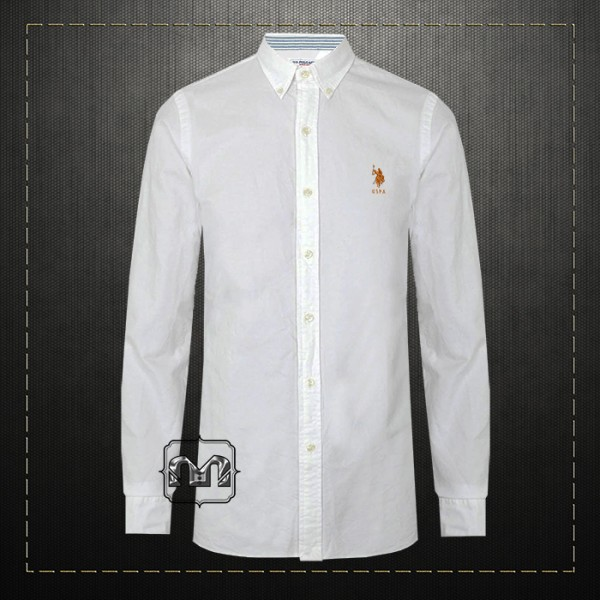 77272571 US Polo Assn USPA Men Solid White Button Down Classic Shirt With US Polo  Chest Embroidery