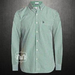 US Polo Assn USPA Men Green Gingham Mini Checked Button Down Shirt With US Polo Chest Embroidery On Pocket