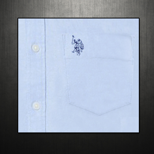 ea0ff5b1 ~US Polo Assn USPA Men Blue Button Down Classic Shirt With US Polo Chest  Embroidery