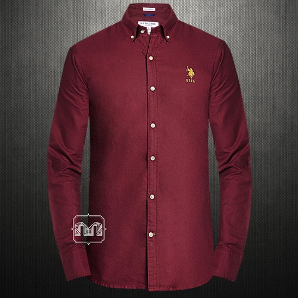 44e821ab ~US Polo Assn USPA Men Solid Maroon Button Down Shirt With US Polo Chest  Embroidery