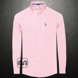 ~US Polo Assn USPA Men Pink Button Down Classic Shirt With US Polo Chest Embroidery On Pocket