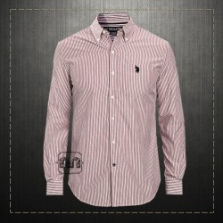 US Polo Assn USPA Men Seagrams Burgundy Long Sleeve Poplin Striped Sport Shirt