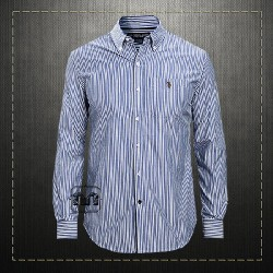 US Polo Assn USPA Men Navy Long Sleeve Poplin Striped Sport Shirt