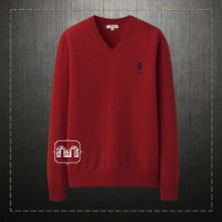 US Polo Assn USPA Men Solid Maroon Vneck Sweater Jumper Small Pony Chest Embroidery Cashmere Blend
