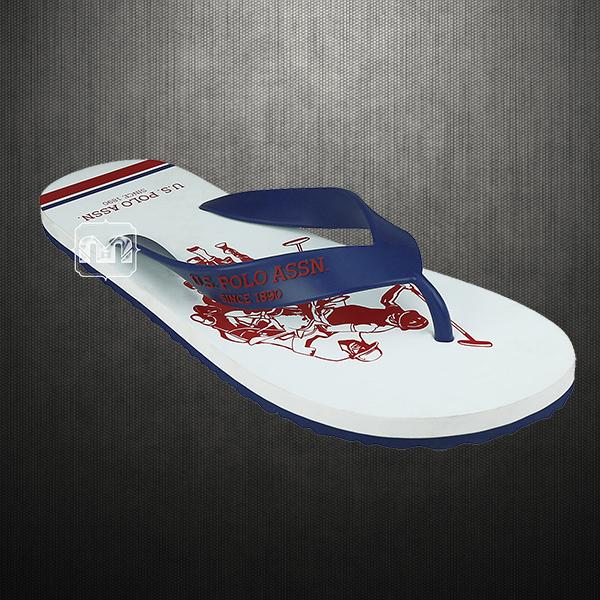 a069e306d734 US Polo Assn Men White Navy Logan Flip Flops Slipper