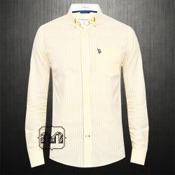 US Polo Assn USPA Men Yellow Gingham Mini Cheked Button Down Shirt With US Polo Chest Embroidery On Pocket