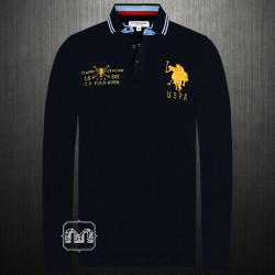 US Polo Assn Men Navy Full Sleeve Tipped Polo Shirt Big Pony Embroidery & Number 2 On The Back