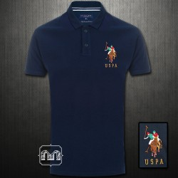 ~US Polo Assn Men Solid Navy Polo Tshirt Multicolored Big Pony Logo