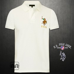 ~US Polo Assn Solid Offwhite Pique Knit Polo Tshirt Multicolored Big Pony Logo