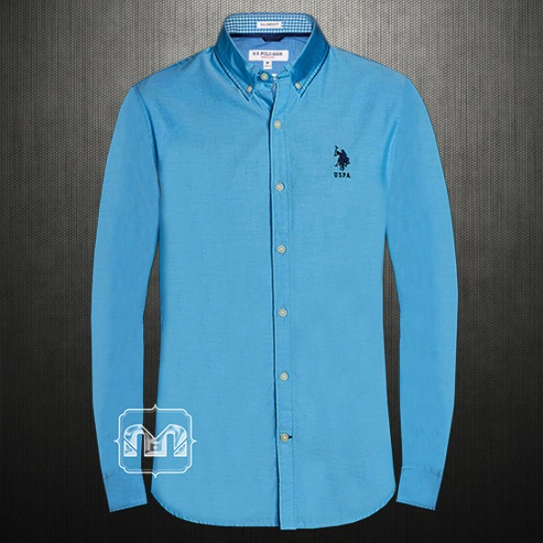 täysin tyylikäs parhaiten myydä myynti uk ~US Polo Assn USPA Men Blue Button Down Casual Shirt With US Polo Chest  Embroidery
