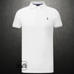 ~US Polo Assn White Polo Tshirt Navy Small Pony Logo