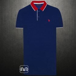 ~US Polo Assn Two Toned Navy Red Polo Tshirt Small Pony Logo With Red Collar