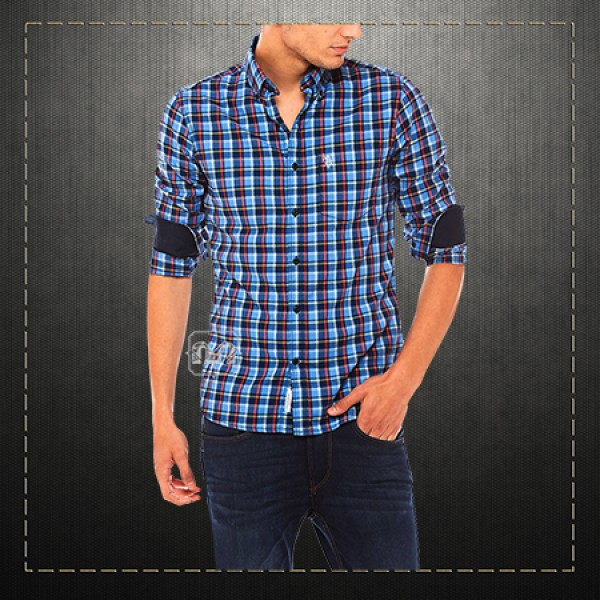 59691440 ~US Polo Assn USPA Men Blue Button Down Checked Shirt With US Polo Chest  Embroidery On Pocket | Malaabes Online Shopping Store in Egypt Promoting  Original ...