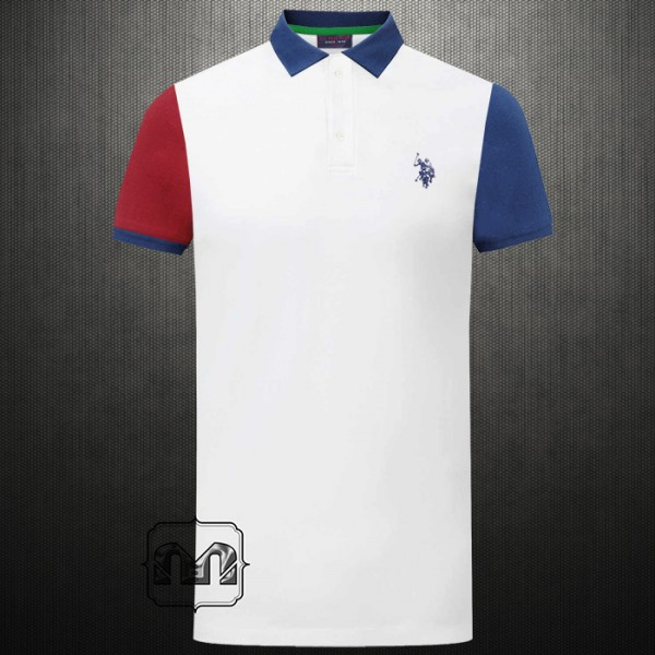 Us Polo Assn Navy Red Two Toned Arms White Polo Tshirt Medium Pony Logo With