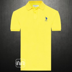 ~US Polo Assn Solid Yellow Polo Shirt Lycra Type With Navy Small Pony