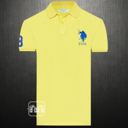 ~US Polo Assn Men Yellow Pique Polo Tshirt Blue Big Pony Chest Embroidery