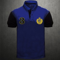~US Polo Assn USPA Blue Polo Tshirt With Embroidery On Chest And Black Back