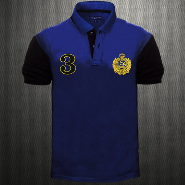 Us Polo N Uspa Blue Tshirt With Embroidery On Chest And Black Back