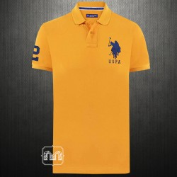~US Polo Assn Men Light Orange Peach Pique Knit Polo Tshirt Navy Big Pony Logo