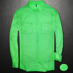 ~United Colors of Benetton Fluorescent Green Full Sleeves Shirt