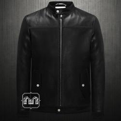 ~Versace Collection Black Moto Biker Slim Stitched Leather Jacket With Zipper & Side Pockets