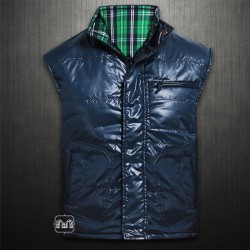 ~Wrangler Navy Green Checkered Taylor Reversible Vest Jacket