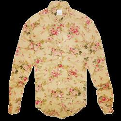 ~Zara Slim Fit Floral Beige Long Sleeve Shirt