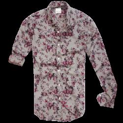 ~Zara Slim Fit Floral Grey Long Sleeve Shirt