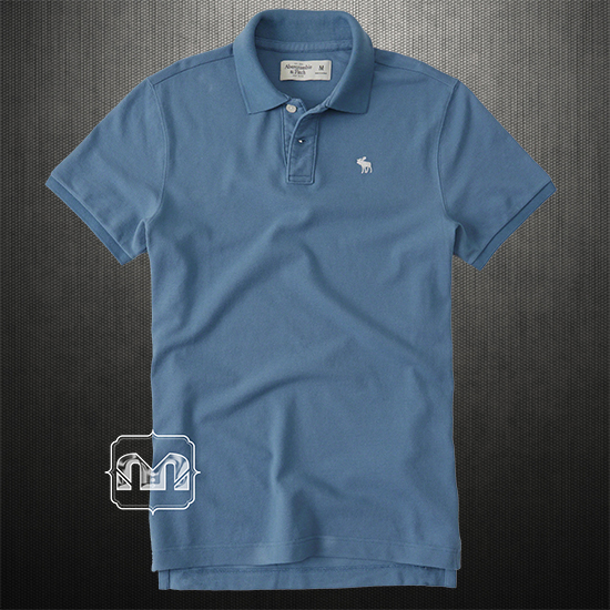 Abercrombie fitch men solid blue icon polo shirts with for Abercrombie logo t shirt
