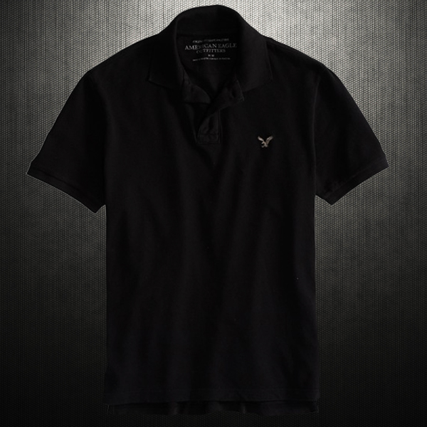 24ed230b86d American Eagle Outfitters Mens AE Solid Jersey Black Polo | Malaabes ...