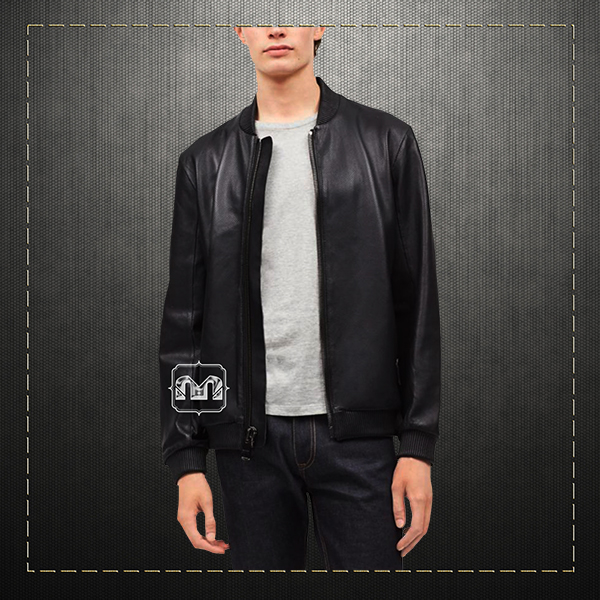 59d02a012 Calvin Klein CK Men Sportswear Premium Perforated Leather Baseball Slim Fit  Zippered Jacket In Black