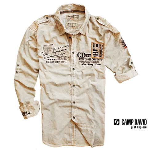 camp david washed beige rollup sleeve shirt malaabes online. Black Bedroom Furniture Sets. Home Design Ideas