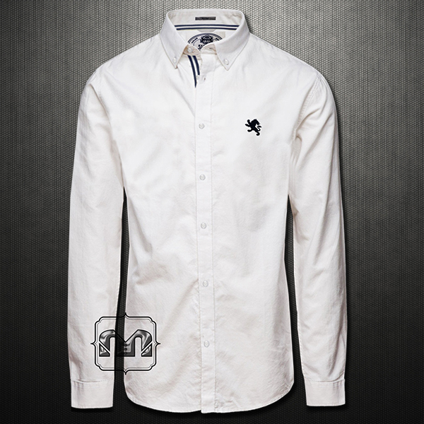 Express Smart Casual White Long Sleeve Shirt With Button Down Navy