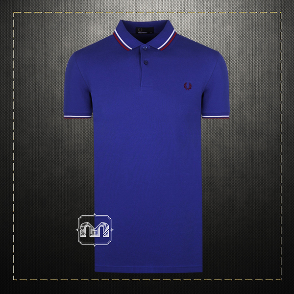27b0c204 ~Fred Perry Men Cotton Tipped Collar & Cuffs Regal Blue Polo Shirt With  Chest Wreath