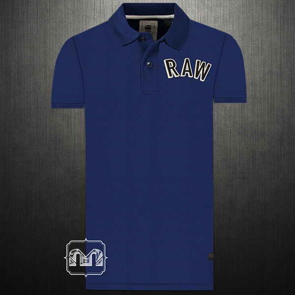 1076417521a ~G Star Raw Mezard RAW Applique Chest Embroidered Navy Pique Stretch Polo  Shirt. Larger Image.