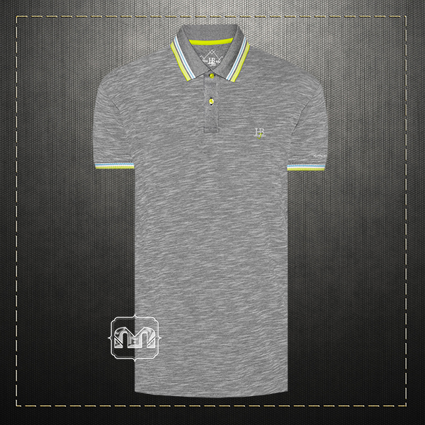 c2940ce85 ~Harmont & Blaine Jeans Men Cotton Tipped Collar Mel Grey Polo Shirt With  HBJ Chest